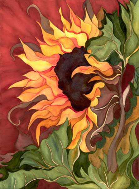 Janis Porter: Sunflower On Red